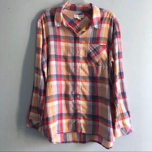 Treasure & Bond Colorful Plaid Button Front Shirt